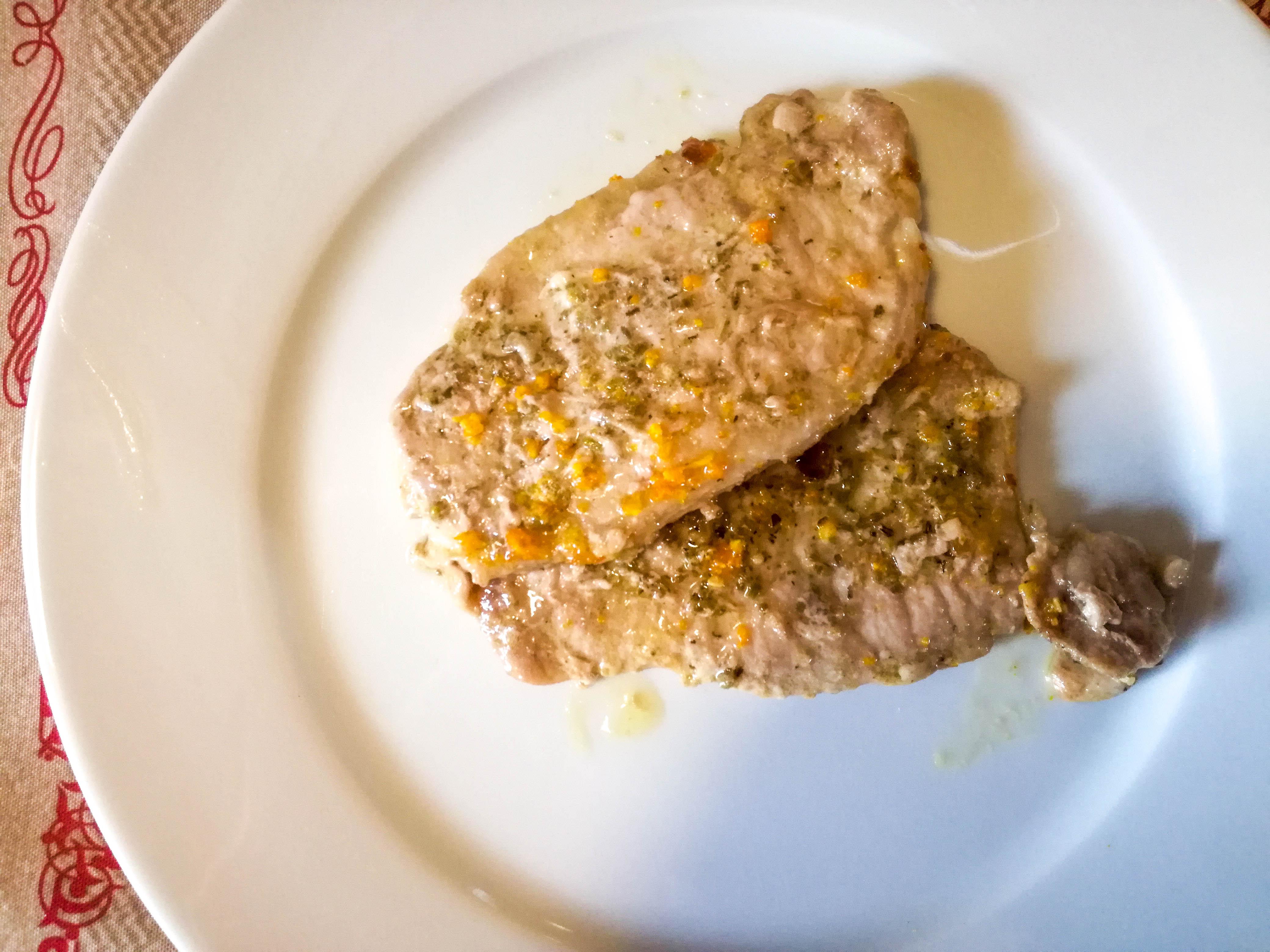 lonza di maiale con arancia e peperoncino